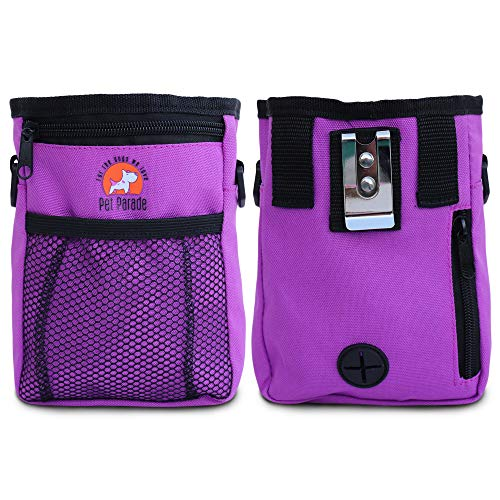 Pet Parade Boutique Dog & Puppy Treat Pouch, Training Treat Bag with Built-in Waste Bags Dispenser, Shoulder Strap & Extended Waist Belt