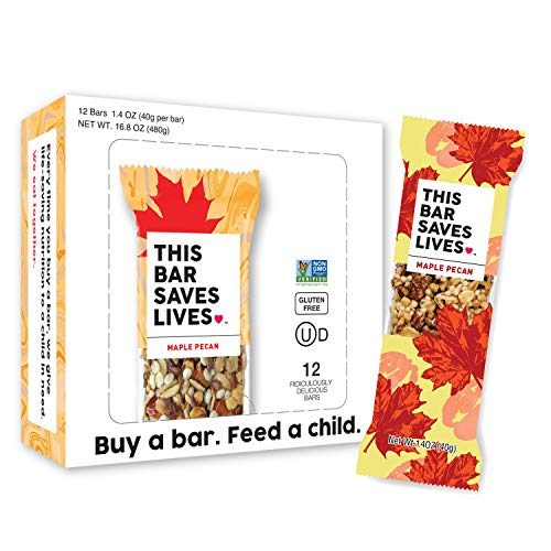 Maple Pecan Bar - Gluten Free Granola Breakfast Bar, Maple Pecan by This Bar Saves Lives, 1.4 oz, 12 bars