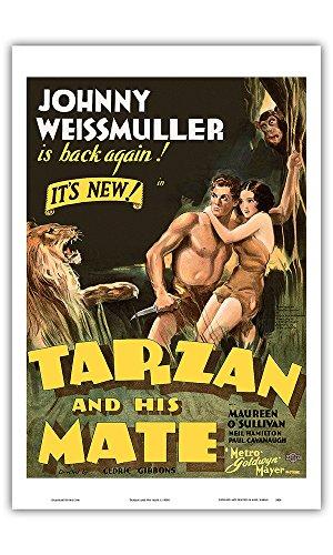 Tarzan and His Mate - Starring Johnny Weissmuller, Maureen O'Sullivan - Edgar Rice Burroughs - Metro Goldwyn Mayer - Vintage Film Movie Poster c.1930s - Master Art Print - 12in x 18in (Metro Master)