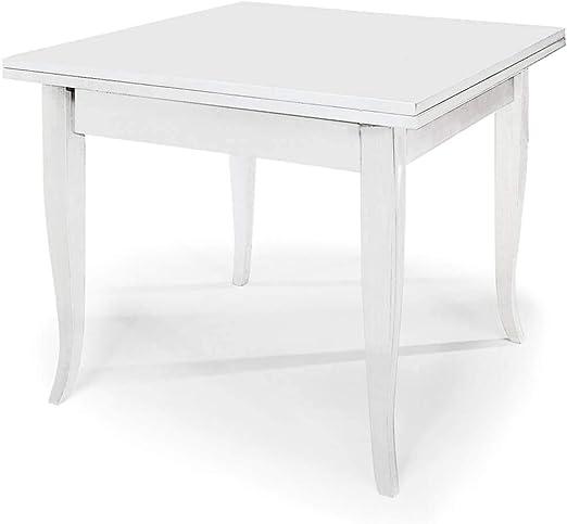Mesa extensible a libro cuadrado blanco 100 x 100/200 para ...