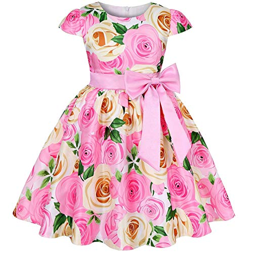 Baby Girls Dress Elegant Blooming Rose Flower Garden Cotton Christmas Halloween Princess Kids Dresses,Pink,2T]()