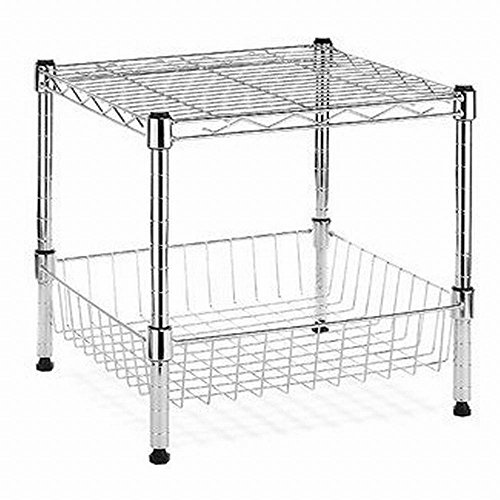 HDX Modular 14.75 in. x 13.8 in. Stacking Shelf with Basket
