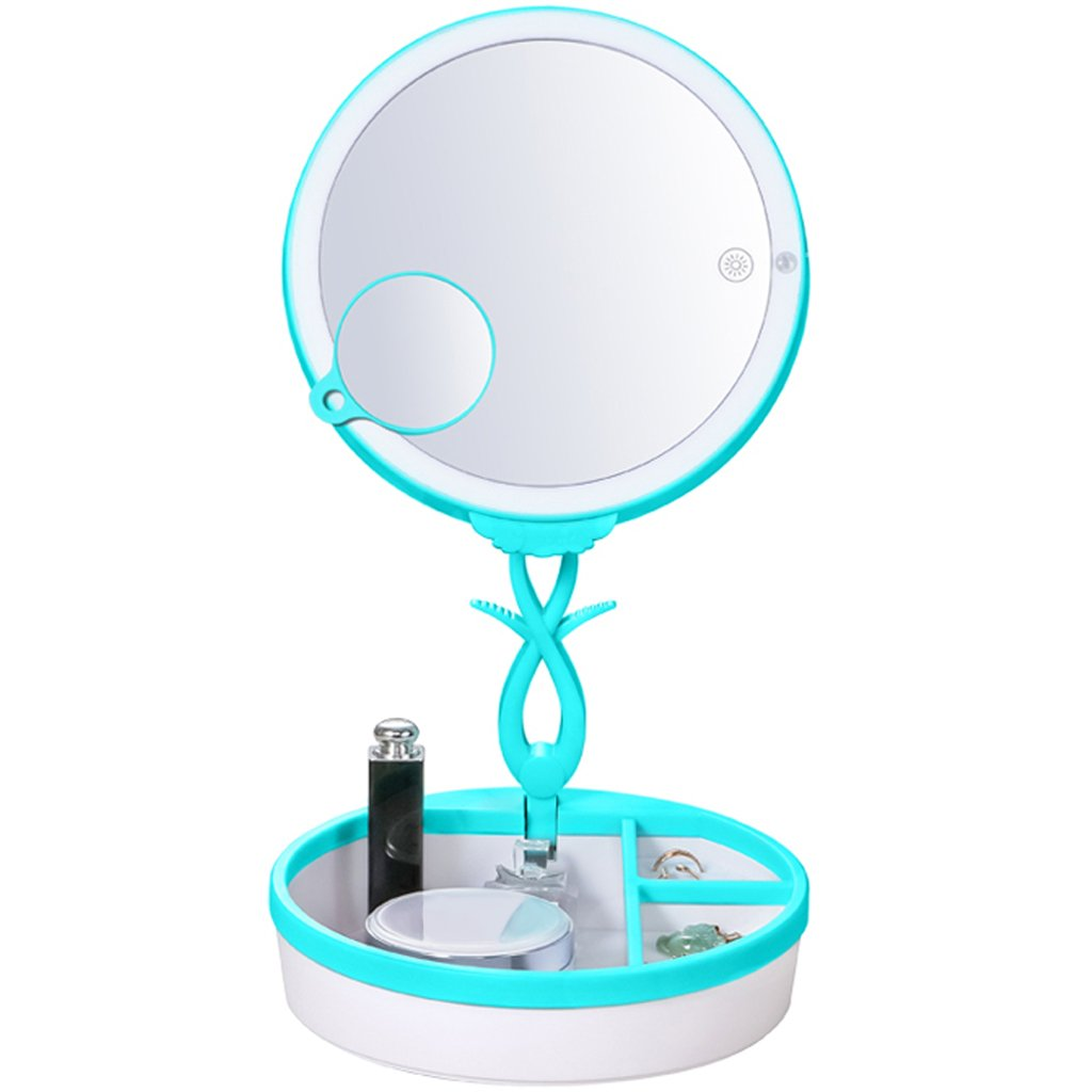 LIYUDL Folding Lighted Makeup Mirror with Magnifying Mirror,Portable 2-in-1 Travel Vanity Mirror with Table Lamp,Storage Desk Lamp White Light,Touch Screen Dimming,Detachable Mirror Table Lamp (Blue)