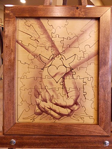 Wedding Guest Book Alternative Wood Puzzle ''Together Forever Tree Hand in Hand'' 14x17 Small 75 Piece by Together Forever Puzzle