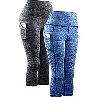 Neleus Women's Tummy Control High Waist Capri Leggings with Pockets