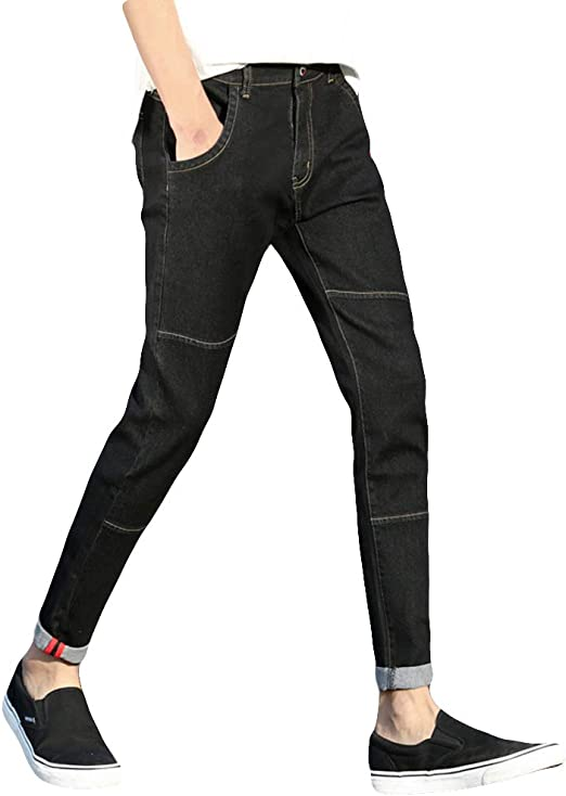 [NEXTCORNER] ジーンズ メンズ ストレッチ 無地 美脚 裾上げ カジュアル スリム 9分丈 春 夏 秋 品質保証