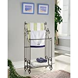 K&B Traditional Style Towel Rack having 3 bars, a shelf and pewter finish with swirled designs