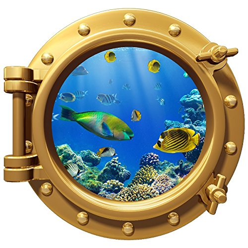 Fish Wall Border - Porthole Wall Color Decal Coral Reef Fish 12