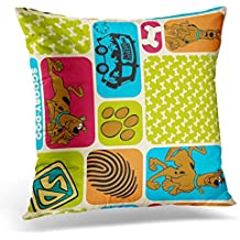 TORASS Throw Pillow Cover Dog Scooby Doo Mystery Bone Decorative Pillow Case Home Decor Square 20x20 Inches Pillowcase