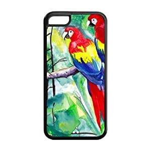 Rubber TPU Case Cover for IPhone 5C ,Colorful Parrot (For IPhone 5C)