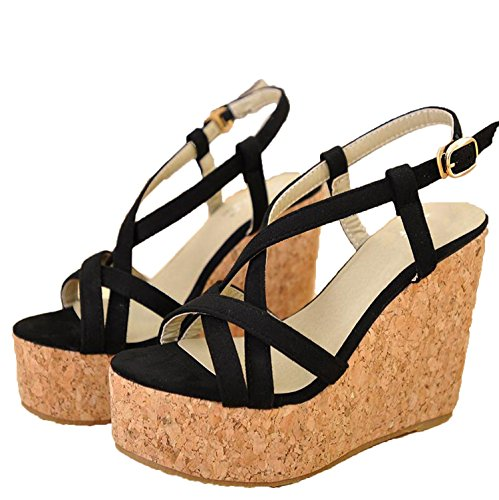 Summer Women's Cashmere Slope with high-Heeled Platform Thick Sandals Size 30 31 32 33 41 42 43,Black,4.5