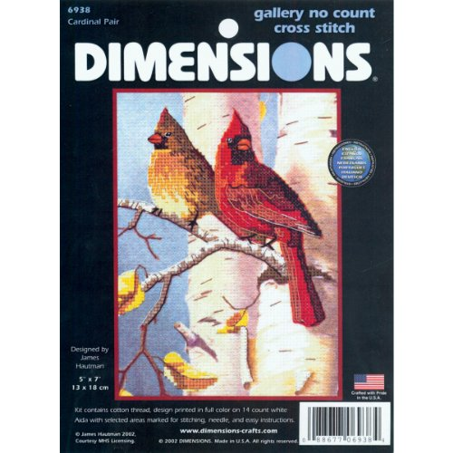 Dimensions No Count Cross Stitch, Cardinal (Simply Stitched Embroidery Kit)