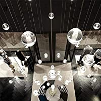 loonju Escalera moderna lámpara de araña Sitio vivo Dormitorio Cocina hueco de la escalera larga de la lámpara de techo alto esfera de la bola araña Lustre, base redonda: Amazon.es: Iluminación