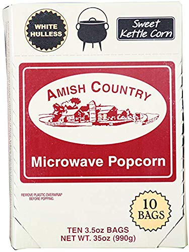 Amish Country Popcorn - 10 Bags Sweet Kettle Corn Microwave Popcorn - White Hulless Old Fashioned Microwave Popcorn - All Natrual, Gluten Free, and Non GMO - Recipe Guide