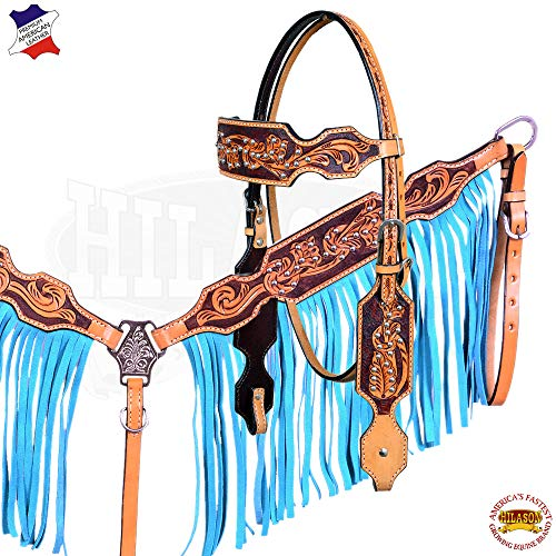 HILASON American Leather Horse Headstall Breast Collar Brown Turquoise