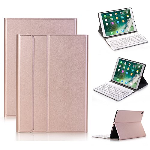 2017 New iPad 9.7,iPad Pro 9.7,iPad Air 2/1 Keyboard Leather Case Cover,Genjia Stylish leather Cover with Ultra-Slim Lightweight ABS Detachable Bluetooth Wireless Keyboard for Apple iPad (Rose Gold) by Genjia
