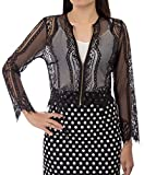 Kate Kasin Womens Fashion Lace Crochet Open Front Blouse Tops with Tassels (S,Black)