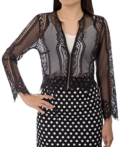 Womens Long Embroidered Lace Kimono Cardigan with Zipper (L,Black) ()
