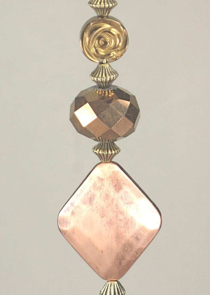Coppery Diamond and Faceted Lampwork Glass Ceiling Fan/Light Pull