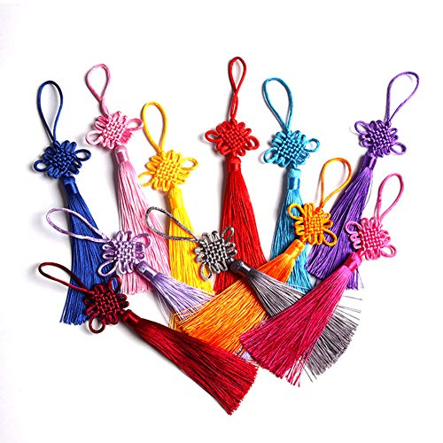 (10 Pcs Silkly Handmade Chinese Knot with Soft Tassels for Wealth and Good Fortune for Home Office Decor&Car Hanging Decoration((6.4'')))