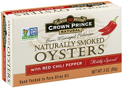 Olive Oil Case (Crown Prince Natural Smoked Oysters with Red Chili Pepper, 3-Ounce Cans (Pack of 18))
