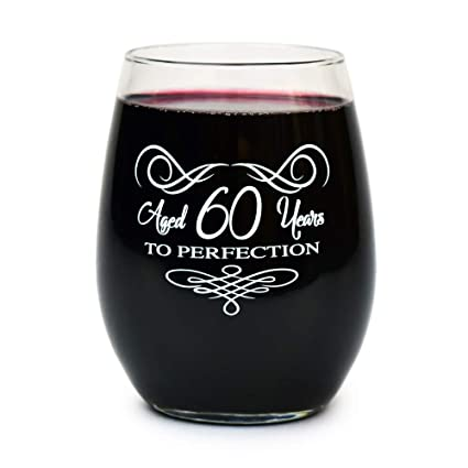 60th Birthday Stemless Wine Glass Gifts For Women And Men Funny Vintage Retro Gift Ideas