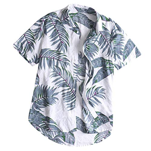Fashion Mens Casual Button Down Hawaiian Print Beach Short Sleeve Tops Shirt Gray
