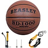 Basketball Outdoor Indoor Official Size 29.5, Daping Leather Basketballs Game Ball Street with Pump, Needles, Basketball Net (Size 7)