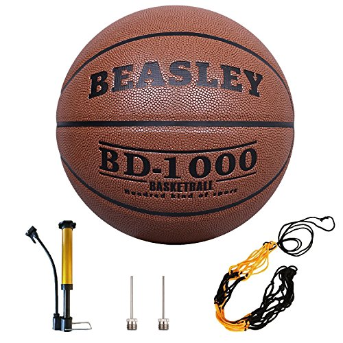 Basketballs Indoor Outdoor Basketball Leather with Pump Needles, Basketball Net, Training Game Basketball Moisture Absorbing Hygroscopic. Street Basketball Official Size 7/29.5