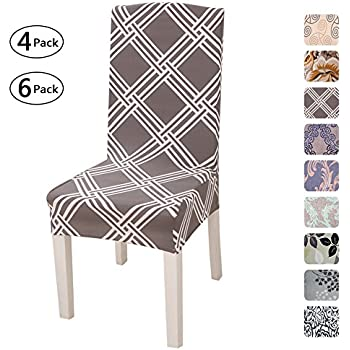 Fuloon Super Fit Stretch Removable Washable Short Dining Chair Protector Cover Seat Slipcover for Hotel,Dining Room,Ceremony,Banquet Wedding Party (4 Per ...