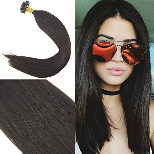 Youngsee 16inch Remy Utip Hair Extensions Real Human Hair Darkest Brown #2 100% Real Silk Straight Human Hair U Tip Extensions 1g/Strand 50g ()