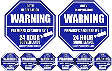 9 x Property Alarm Security System Monitored Warning Stickers Home Business