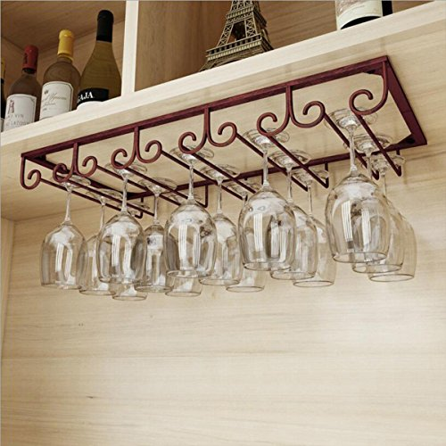 MZGH ISLAND Under Cabinet Hanging Shelves 5 Slots,Vintage Wine Glass Rack,Organizer Storage Cup,Goblet Drying Shelf,Stemware Holder for Home Bar,Holds up to 10-15 Glasses(Bronze) by MZGH ISLAND