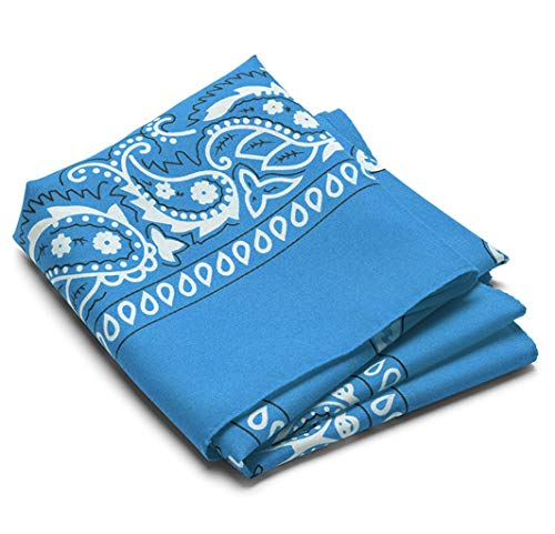 (12 Pack Assorted Bandanas made from 100% Cotton with Paisley Design, 22 X 22 Inches, Perfect for head ware, scarf, cowboys, and more! (Sky Blue))