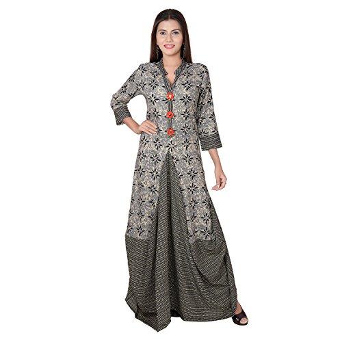 Metro Fashion New Full Flared Kurti Vintage Hippie Tunic Top Long Dress (XL, Grey) - Hippie Vintage Tunic
