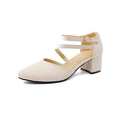 QXH Damenschuhe Sandalen Flachen Mund Flache Wies Mitte Ferse, Weiß, 35