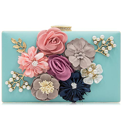 Milisente Evening Bag Clutches purse for Women, Floral Clutch Evening Shoulder Bags, Wedding Crossbody Handbags (Light Blue) ()