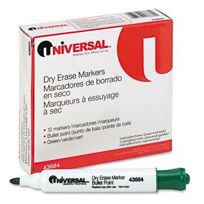 Universal 43684 Dry Erase Marker, Bullet Tip, Green, Dozen