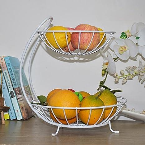 DDBBhome 2 strati di cesto di frutta creativo soggiorno, caramelle di frutta moderna europea, bacino di drenaggio di frutta secca, 2 ripiano per fiori, scaffale di stoccaggio, Bianco