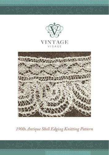 Antique 1900s shell lace edging, trim,knitting pattern