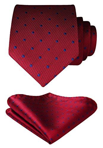 HISDERN Men's Polka Dot Tie Handkerchief Wedding Party Necktie & Pocket Square Set Crimson