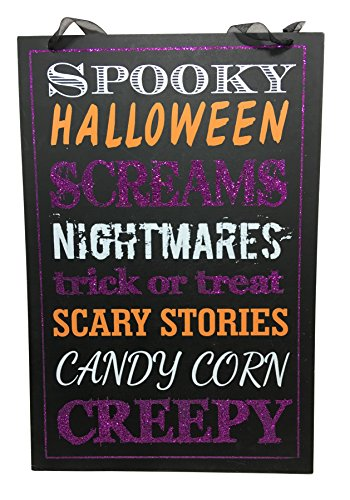 Glittery Wooden Hanging Halloween Signs ~ With Quotes (Spooky, Halloween, Scream) (Scream Halloween Store)