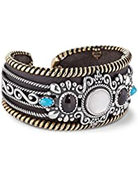 American West Genuine .925 Sterling Silver Turquoise Smoky Quartz Mother of Pearl Brown Leather Cuff Bracelet