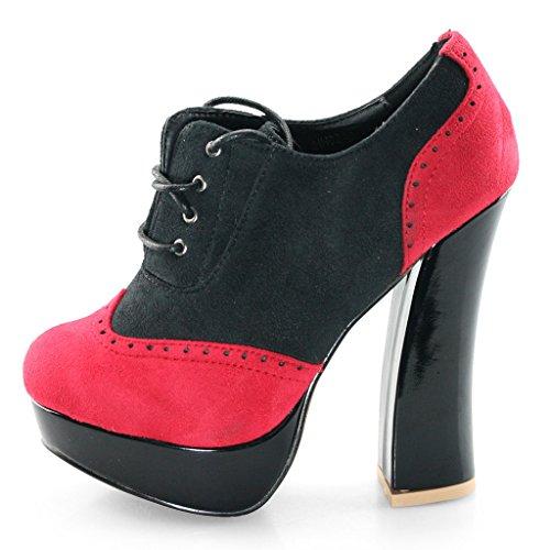 Laras Womens Daim Chaussures À Talons Hauts Oxford Cheville Boots Chunky Noir