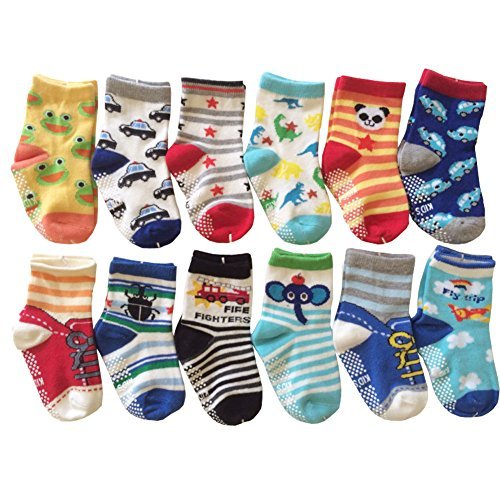 (6 Pairs Anti-Slip Non Skid Cozy Ankle Cotton Socks Baby Boys Girls Toddler Walker Cartoon Sneakers Crew Socks with Grip for 12-36 Months)