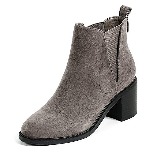 five Single Korean Plate And Boots KHSKX Boots Chelsea Heel Boots The With New Woman Rough Loose Thirty Grey Heel High x4w1HZn