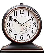 Vintage Mantel Clock Mute Quartz Mantle Clock, Battery Powered Mantlepiece Clock Decorative Table Clock Desk Clock Suitable for Home Living Room and Bedroom