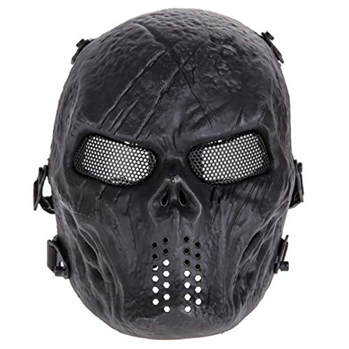 Skull Airsoft Party Mask Paintball Full Face Mask Army Games Mesh Eye Shield Mask for Halloween Cosplay Party Decor Black ()