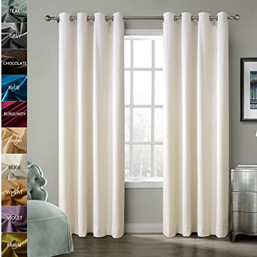ChadMade Solid Matt Heavy Velvet Curtain Drape Panel Super Soft Nickel Grommet Beige 50Wx84L Inch (Set of 2 Panels) BIRKIN Collection Theater| Bedroom| Living Room| Hotel
