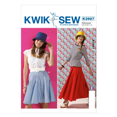 KWIK-SEW PATTERNS K3987OSZ Misses' Skirt and Hat Sewing Template, All Sizes Bias Cut Elastic Waist Skirt
